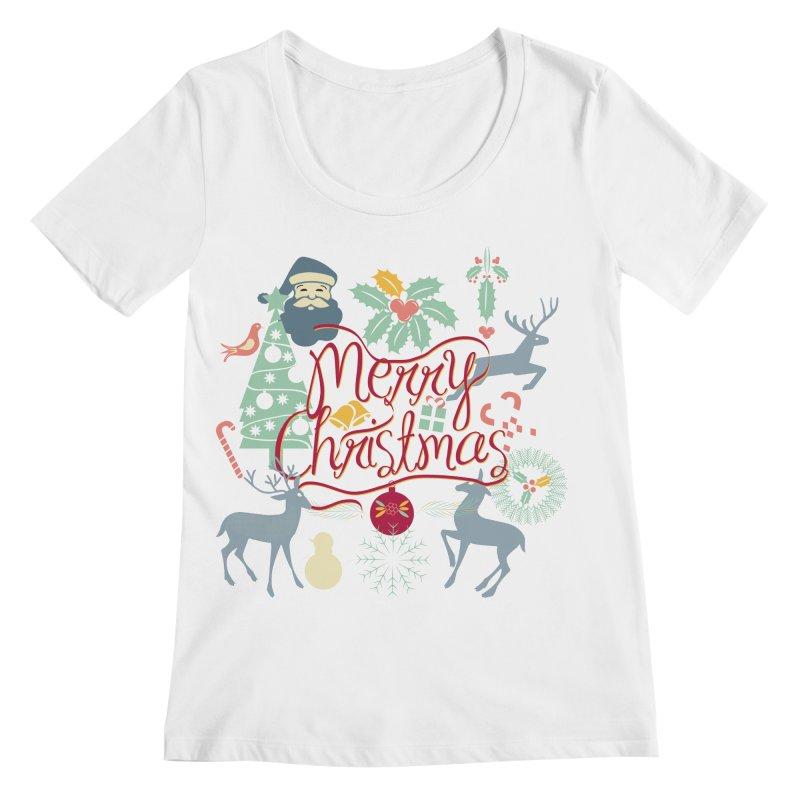 Merry Christmas Women's Regular Scoop Neck by Famenxt