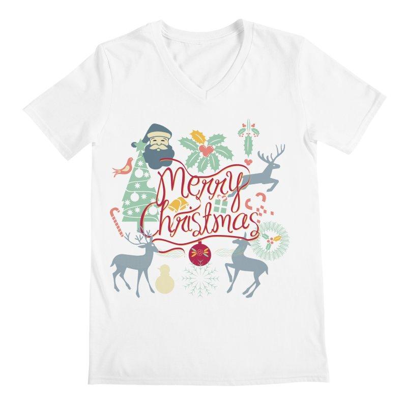 Merry Christmas Men's V-Neck by Famenxt