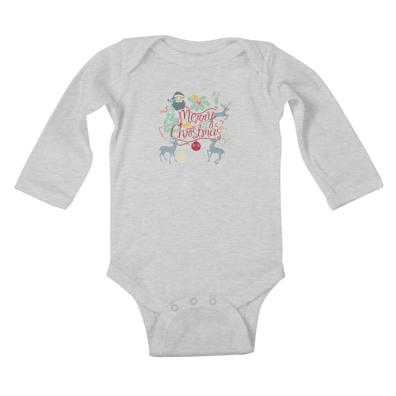 Merry Christmas Kids Baby Longsleeve Bodysuit by Famenxt