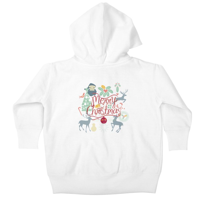 Merry Christmas Kids Baby Zip-Up Hoody by Famenxt