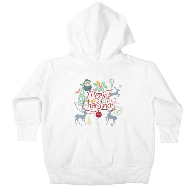 Merry Christmas Kids Baby Zip-Up Hoody by Famenxt
