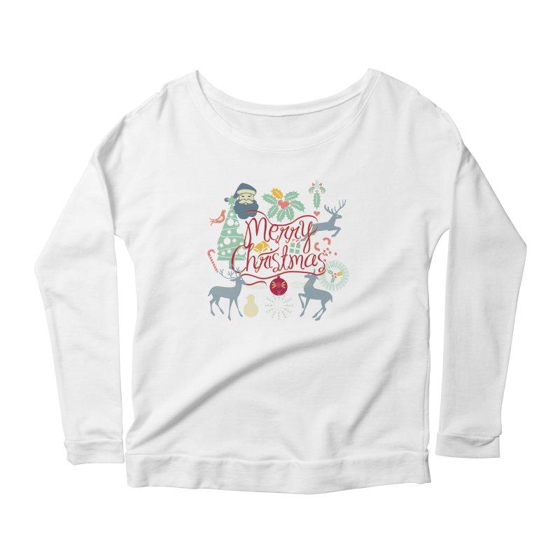 Merry Christmas Women's Scoop Neck Longsleeve T-Shirt by Famenxt