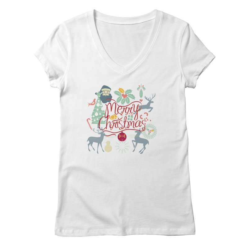 Merry Christmas Women's V-Neck by Famenxt