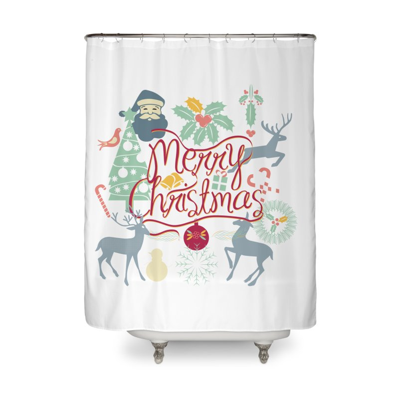 Merry Christmas Home Shower Curtain by Famenxt