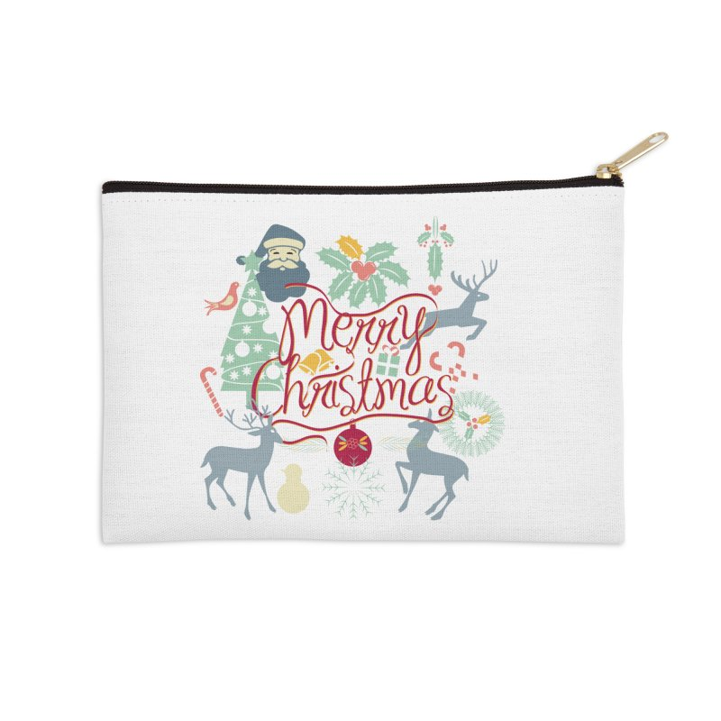 Merry Christmas Accessories Zip Pouch by Famenxt