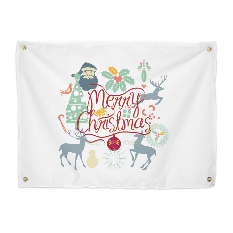 Merry Christmas Home Tapestry by Famenxt