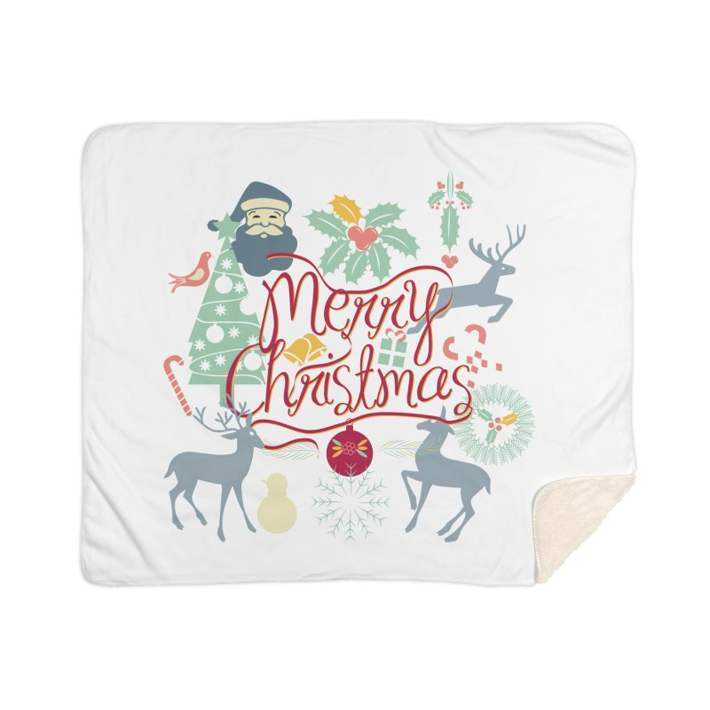 Merry Christmas Home Sherpa Blanket Blanket by Famenxt