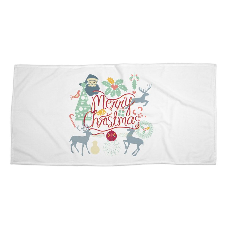 Merry Christmas Accessories Beach Towel by Famenxt
