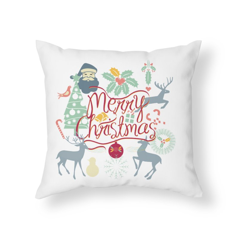 Merry Christmas Home Throw Pillow by Famenxt