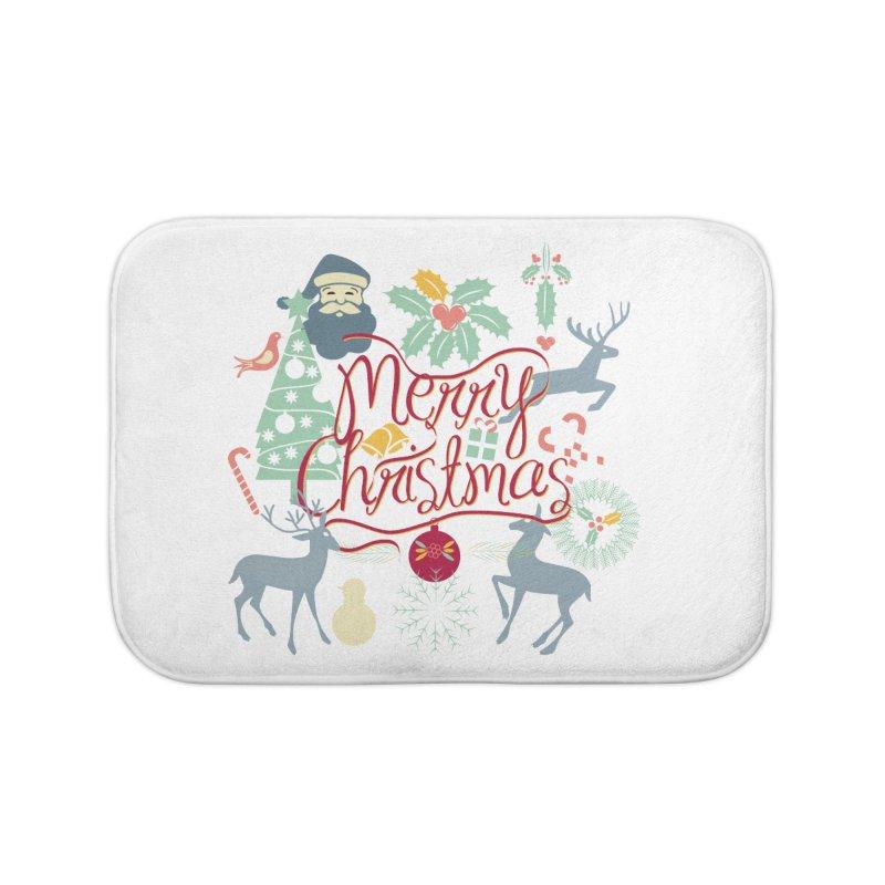 Merry Christmas Home Bath Mat by Famenxt