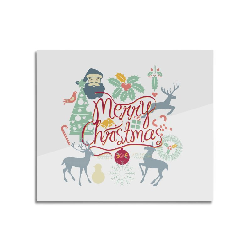 Merry Christmas Home Mounted Aluminum Print by Famenxt