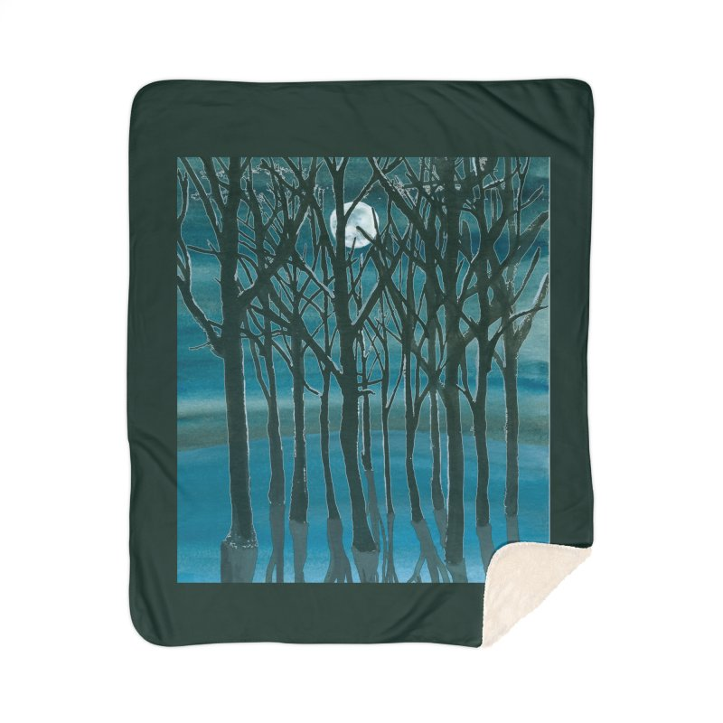 Forest Moon Home Sherpa Blanket Blanket by Family Tree Artist Shop