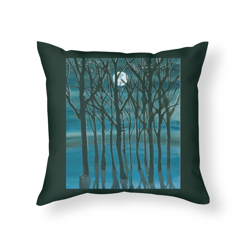 Forest Moon Home Throw Pillow by Family Tree Artist Shop