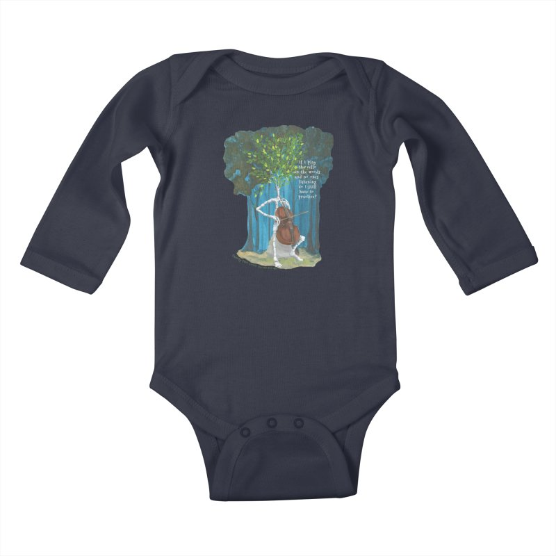 cello practice Kids Baby Longsleeve Bodysuit by Family Tree Artist Shop