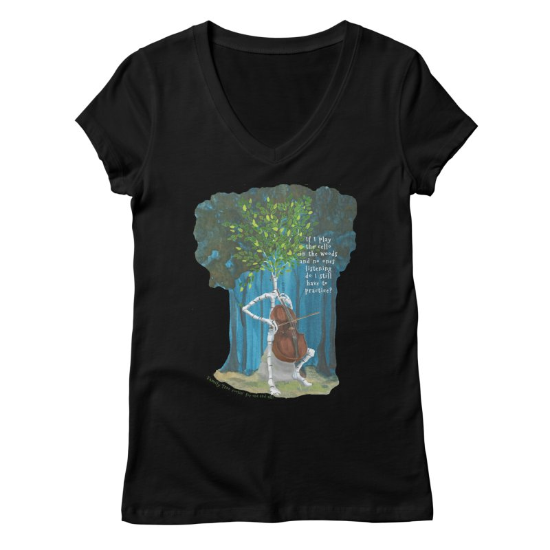 cello practice Women's V-Neck by Family Tree Artist Shop