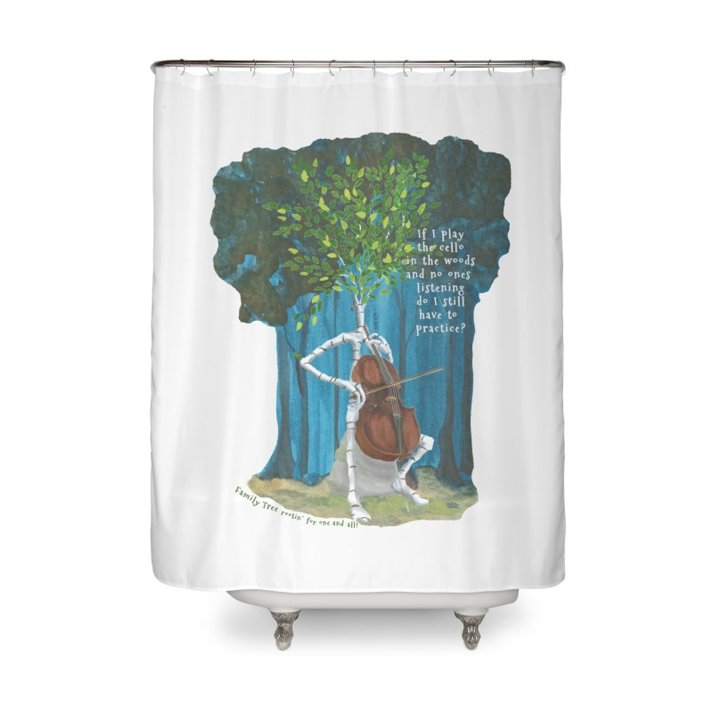 cello practice Home Shower Curtain by Family Tree Artist Shop