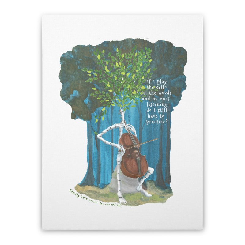 cello practice Home Stretched Canvas by Family Tree Artist Shop