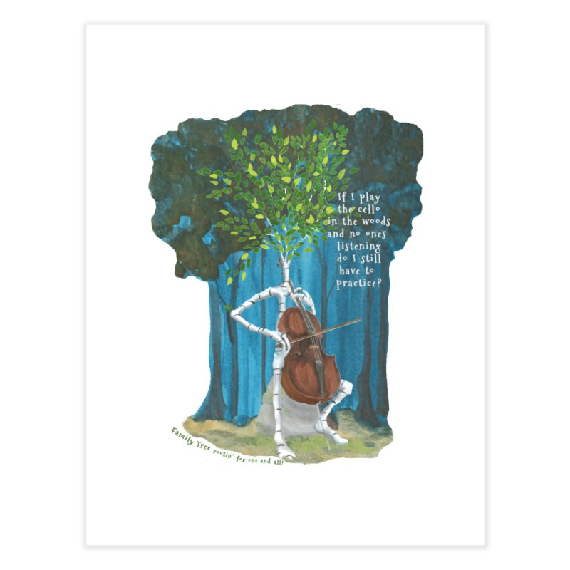 cello practice Home Fine Art Print by Family Tree Artist Shop