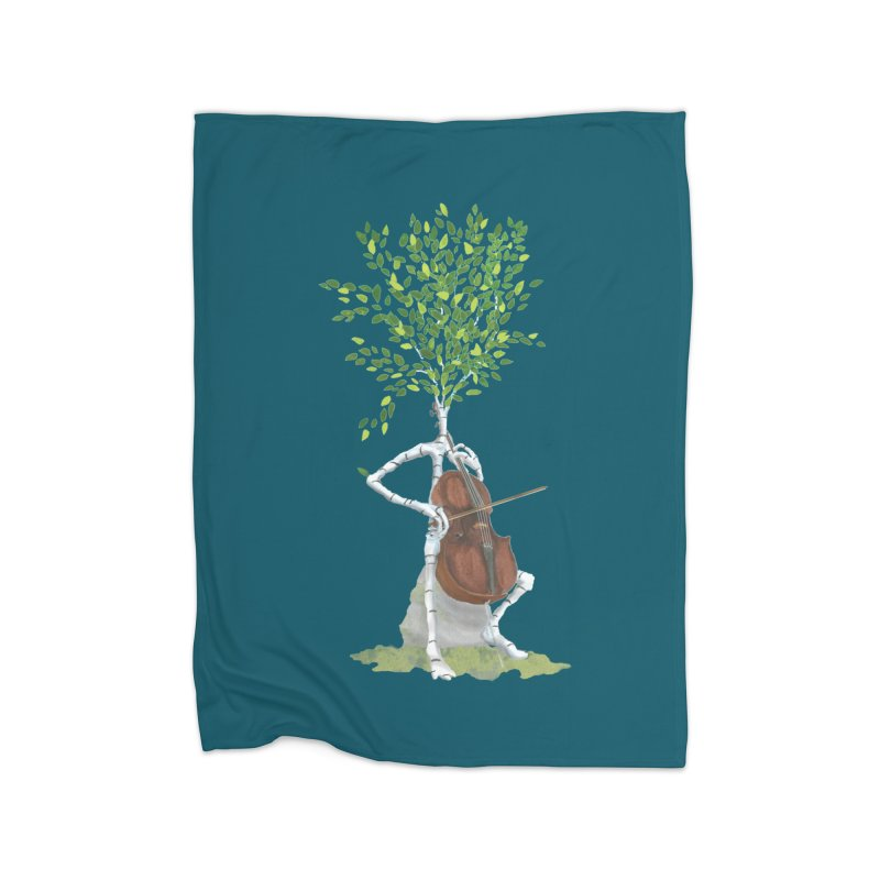 cello Home Fleece Blanket Blanket by Family Tree Artist Shop