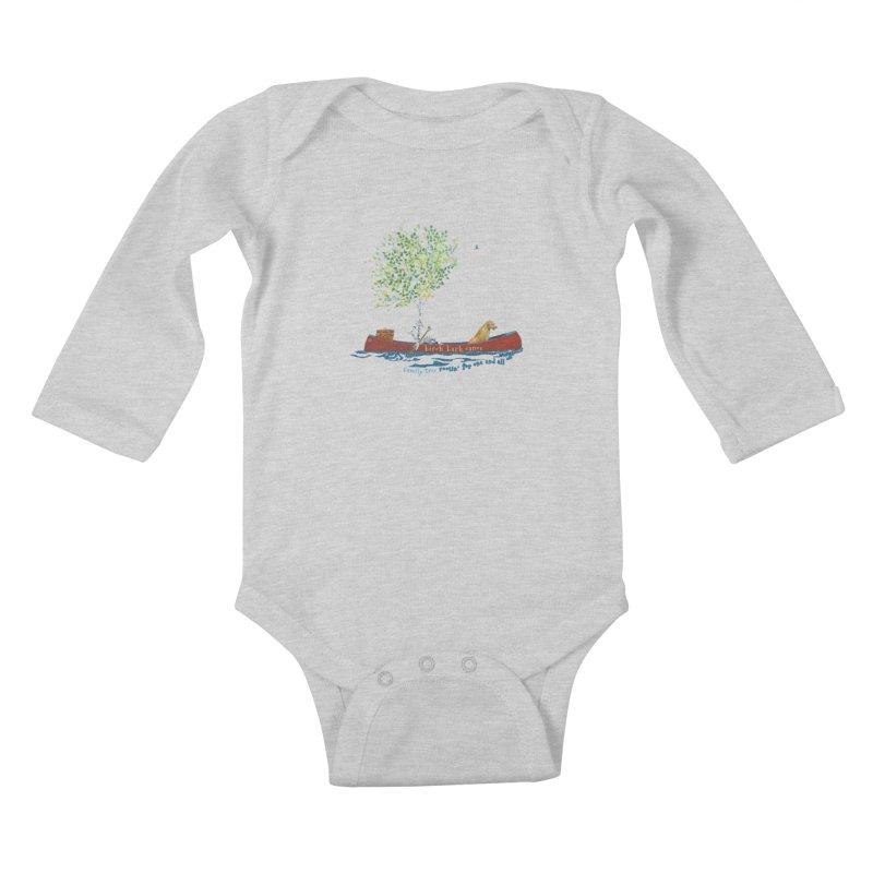 Birch Bark Canoe Kids Baby Longsleeve Bodysuit by Family Tree Artist Shop