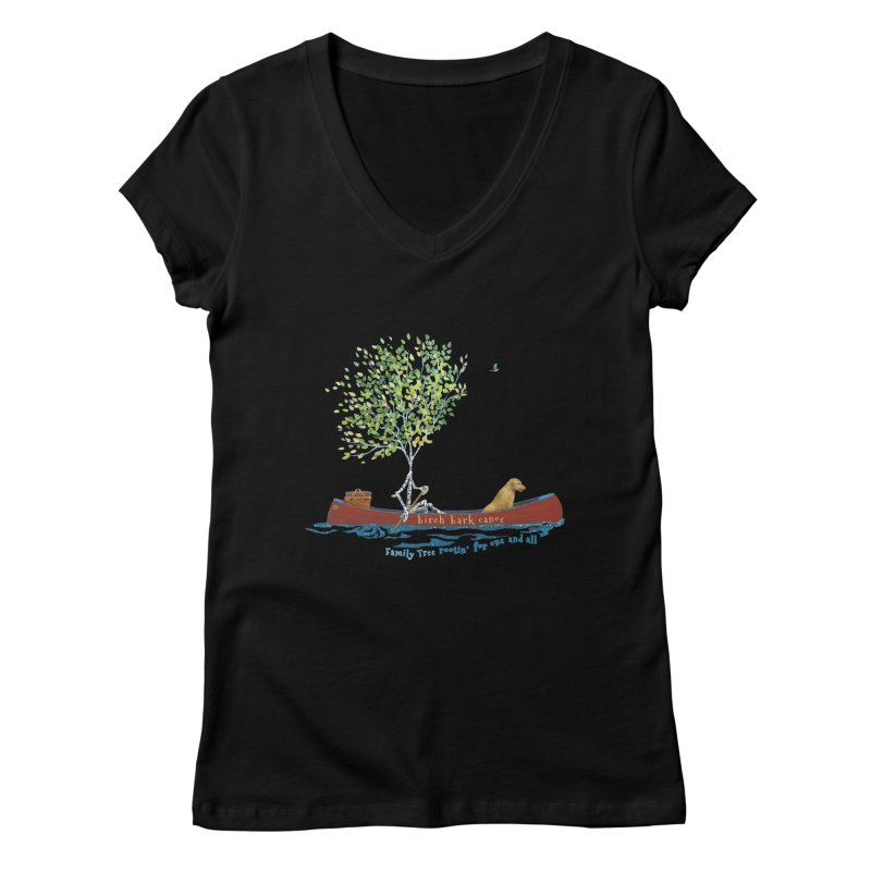 Birch Bark Canoe Women's V-Neck by Family Tree Artist Shop