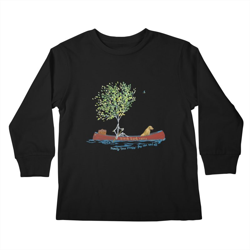 Birch Bark Canoe Kids Longsleeve T-Shirt by Family Tree Artist Shop