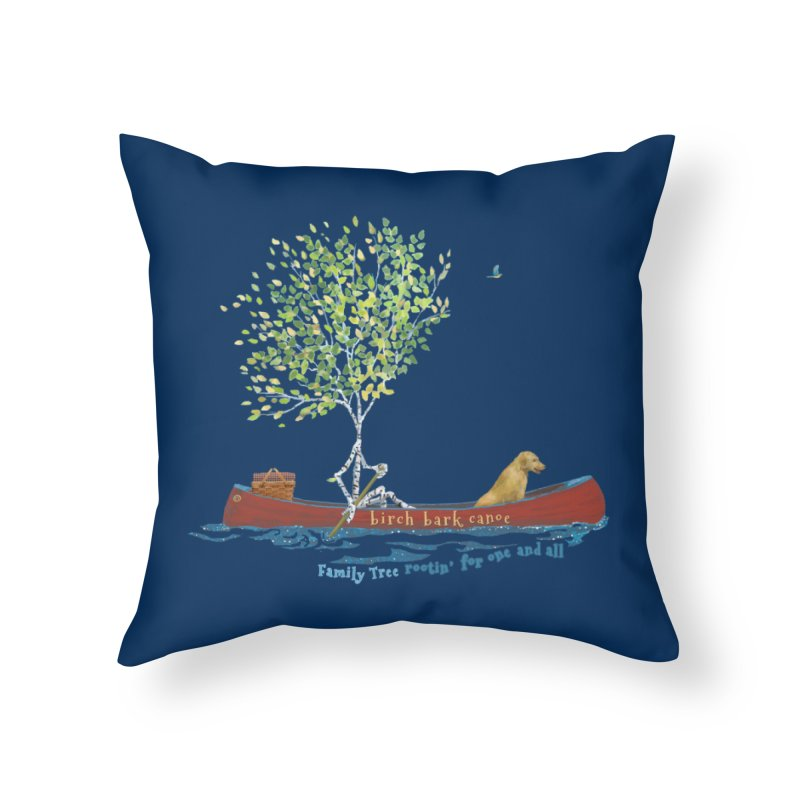 Birch Bark Canoe Home Throw Pillow by Family Tree Artist Shop