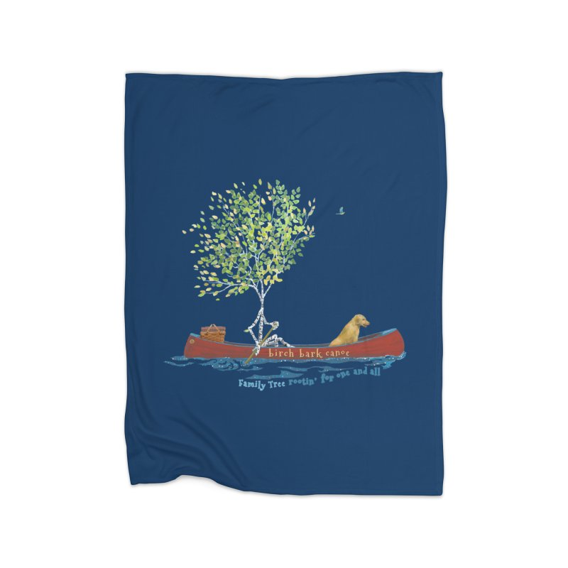 Birch Bark Canoe Home Fleece Blanket Blanket by Family Tree Artist Shop