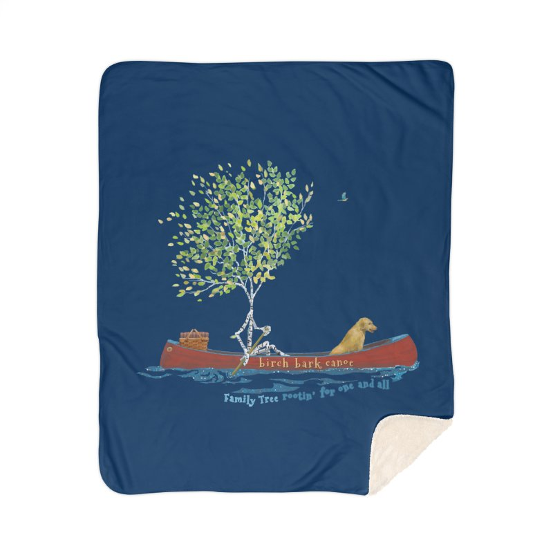 Birch Bark Canoe Home Blanket by Family Tree Artist Shop