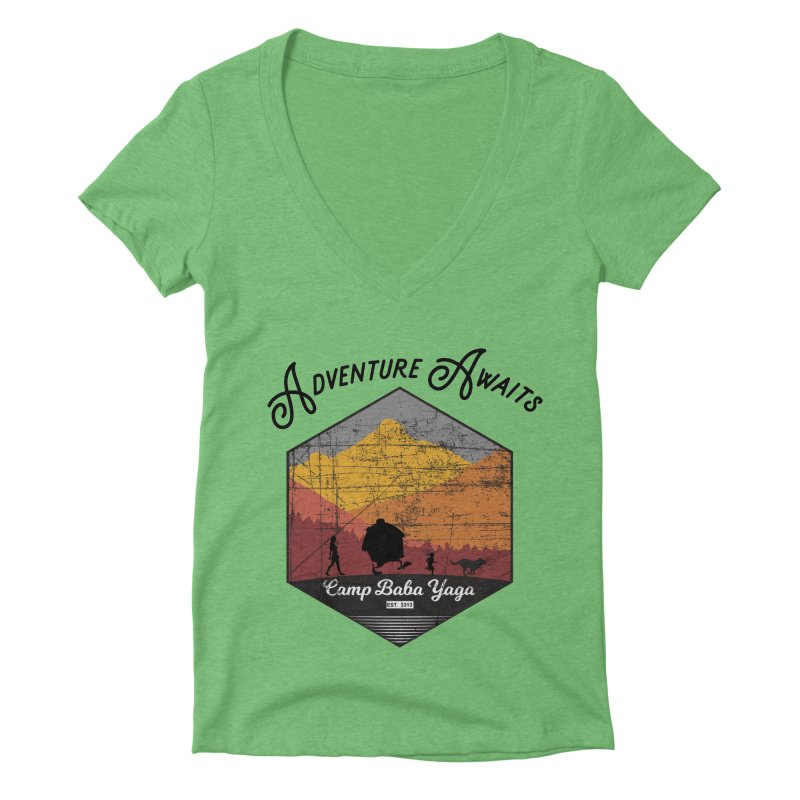 Adventure Awaits - Camp Baba Yaga - Herald's of Summer's Return Edition Women's V-Neck by Fantastic Worlds Podcast  Shop