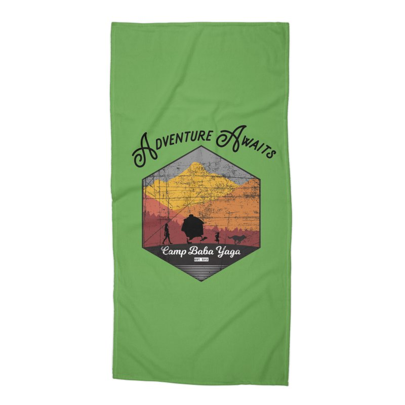 Adventure Awaits - Camp Baba Yaga - Herald's of Summer's Return Edition Accessories Beach Towel by Fantastic Worlds Podcast  Shop