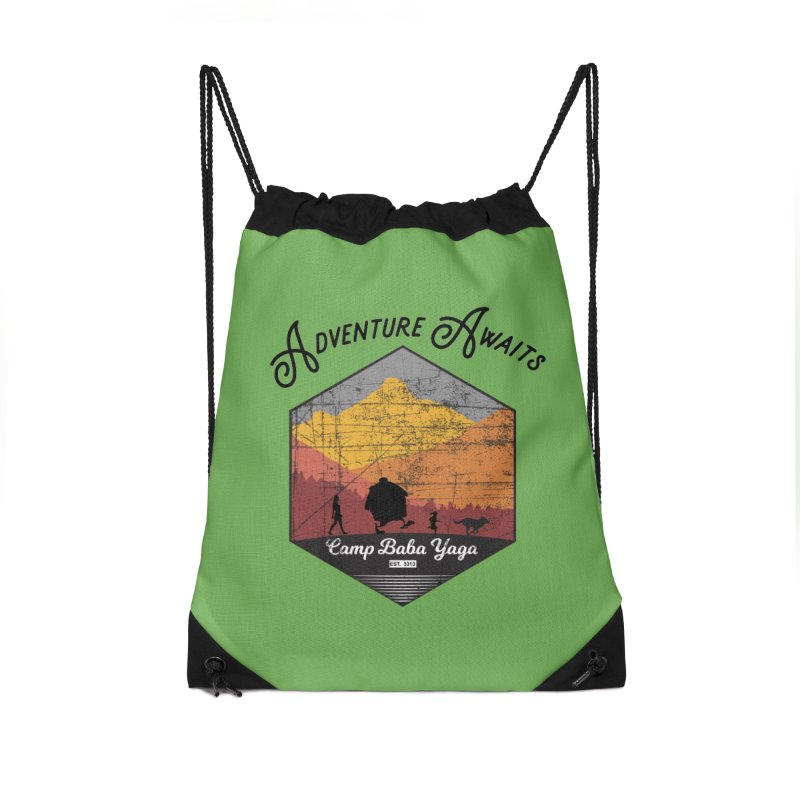 Adventure Awaits - Camp Baba Yaga - Herald's of Summer's Return Edition Accessories Drawstring Bag Bag by Fantastic Worlds Podcast  Shop