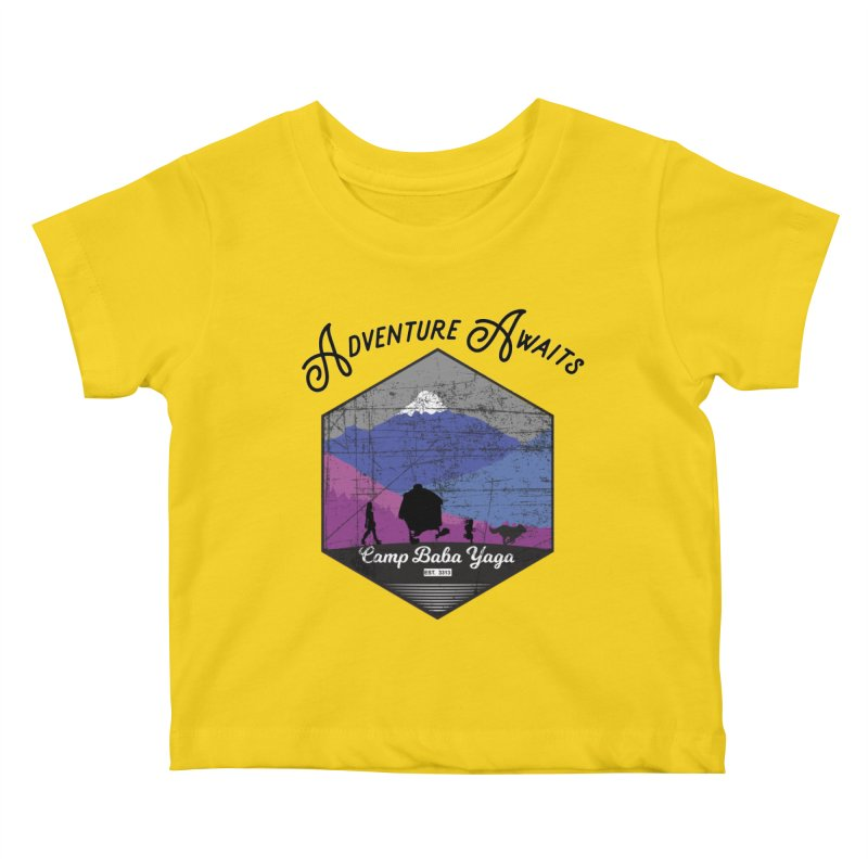 Adventure Awaits - Camp Baba Yaga - Winter Witch Edition Kids Baby T-Shirt by Fantastic Worlds Podcast  Shop
