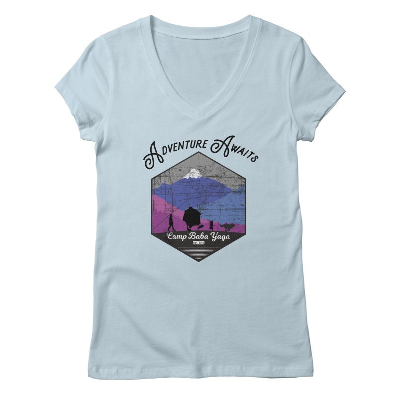 Adventure Awaits - Camp Baba Yaga - Winter Witch Edition Women's V-Neck by Fantastic Worlds Podcast  Shop