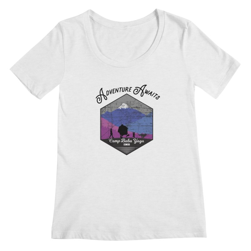 Adventure Awaits - Camp Baba Yaga - Winter Witch Edition Women's Regular Scoop Neck by Fantastic Worlds Podcast  Shop