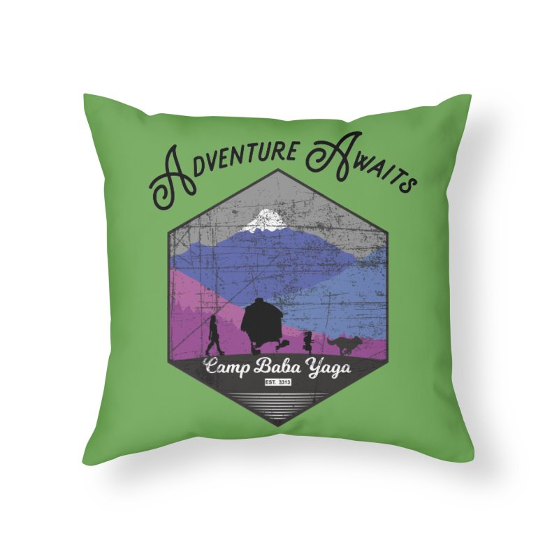 Adventure Awaits - Camp Baba Yaga - Winter Witch Edition Home Throw Pillow by Fantastic Worlds Podcast  Shop