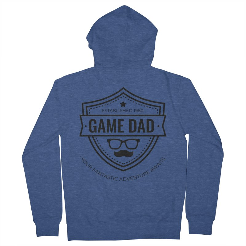 Game Dad - Black Men's French Terry Zip-Up Hoody by fantastic worlds pod's Artist Shop