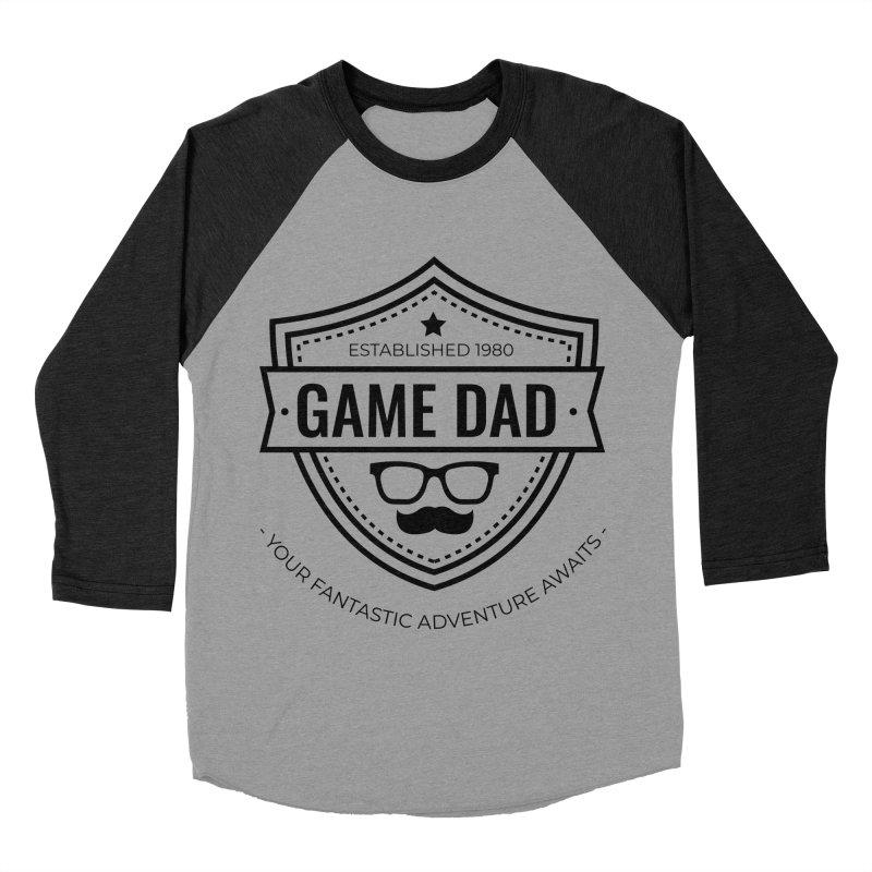 Game Dad - Black Men's Baseball Triblend Longsleeve T-Shirt by fantastic worlds pod's Artist Shop