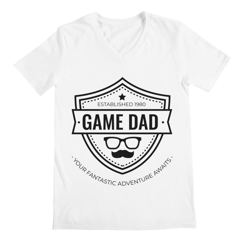 Game Dad - Black Men's Regular V-Neck by fantastic worlds pod's Artist Shop