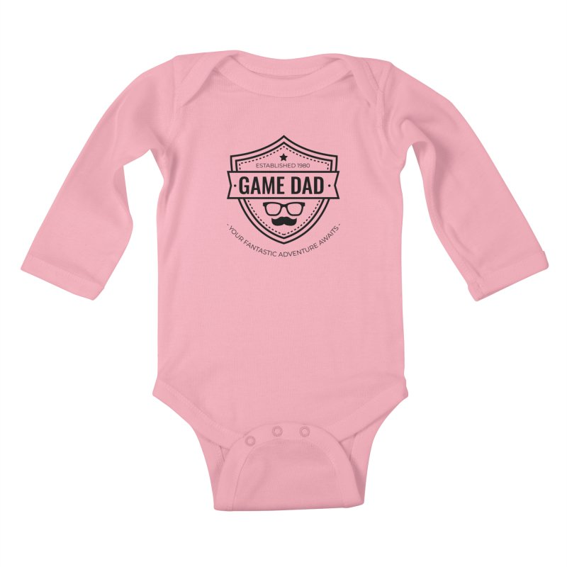 Game Dad - Black Kids Baby Longsleeve Bodysuit by fantastic worlds pod's Artist Shop