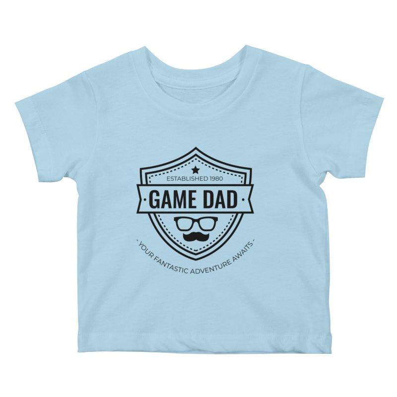 Game Dad - Black Kids Baby T-Shirt by fantastic worlds pod's Artist Shop