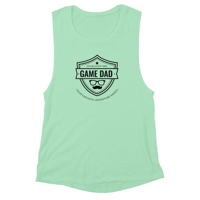 Game Dad - Black Women's Muscle Tank by fantastic worlds pod's Artist Shop