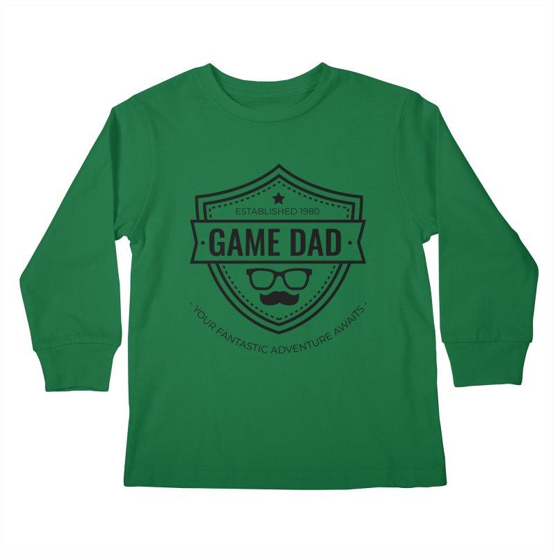 Game Dad - Black Kids Longsleeve T-Shirt by fantastic worlds pod's Artist Shop