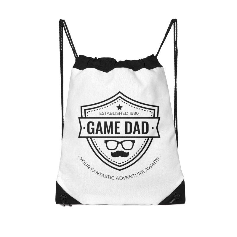 Game Dad - Black Accessories Drawstring Bag Bag by fantastic worlds pod's Artist Shop