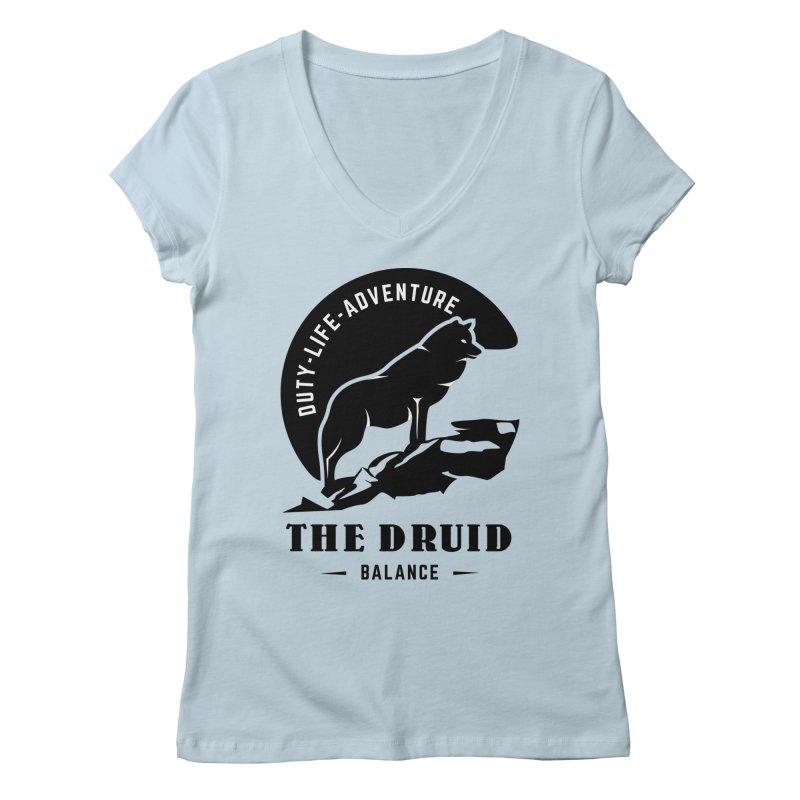 The Druid - Black Women's Regular V-Neck by fantastic worlds pod's Artist Shop