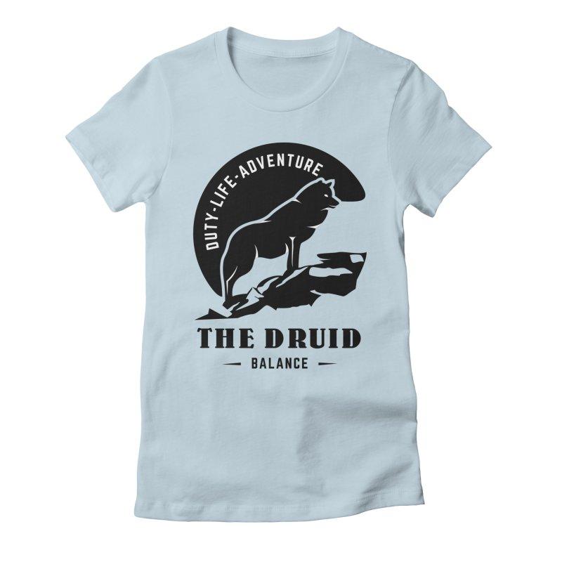 The Druid - Black Women's Fitted T-Shirt by fantasticworldspod's Artist Shop