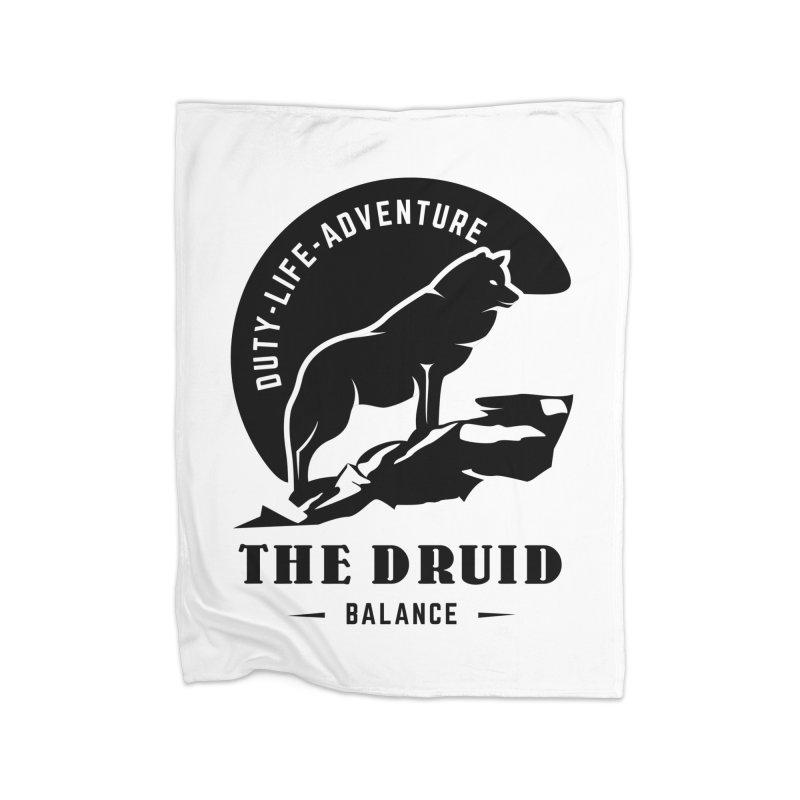 The Druid - Black Home Fleece Blanket Blanket by fantastic worlds pod's Artist Shop