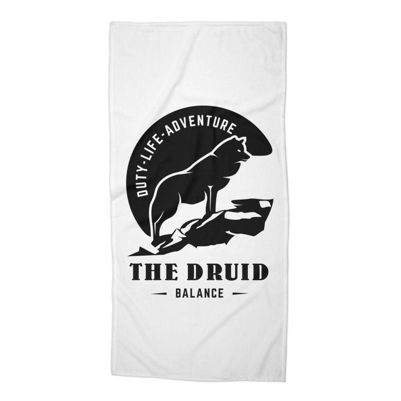 The Druid - Black Accessories Beach Towel by fantastic worlds pod's Artist Shop