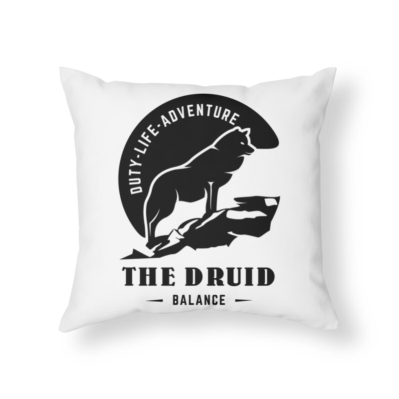 The Druid - Black Home Throw Pillow by fantastic worlds pod's Artist Shop