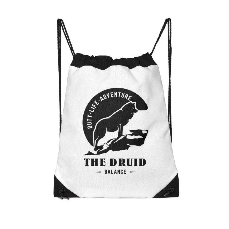 The Druid - Black Accessories Drawstring Bag Bag by fantastic worlds pod's Artist Shop